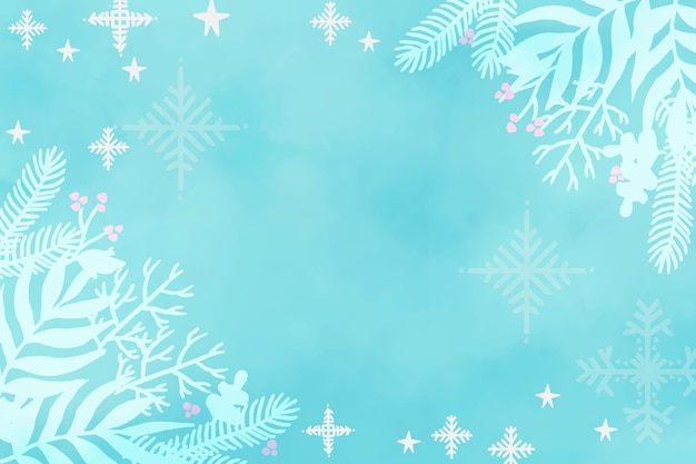 Zimowe tło wykonane z akwarelami