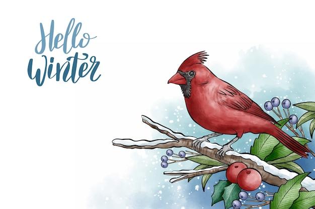 Zimowe tło z ładny ptak