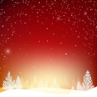 Zimowe tło z lasem w śniegu i wzgórzach.