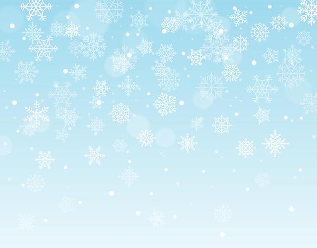 Zimowe tło z płatkami śniegu i puste miejsce na tekst. ilustracja wektorowa