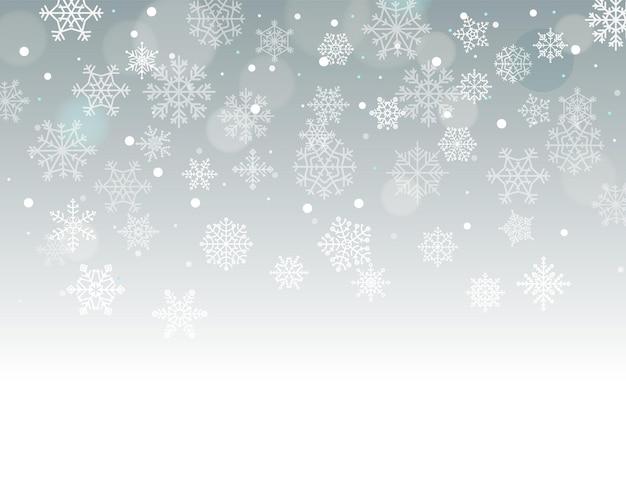 Zimowe tło z płatki śniegu z pustym miejscem na tekst. ilustracja wektorowa