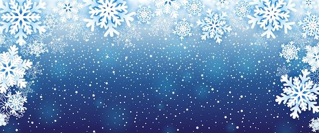 Zimowe tło z płatki śniegu.