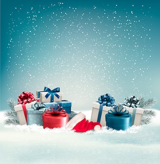 Zimowe tło z prezentami.