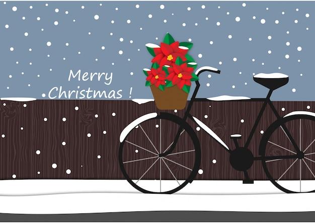 Zimowe tło z rowerów i czerwony kwiat kreskówka, boże narodzenie