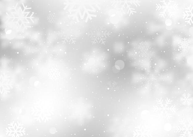 Zimowe tło z spadające płatki śniegu