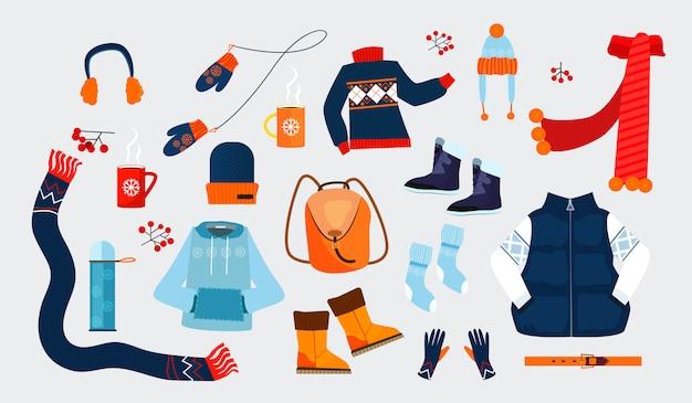 Zimowe ubrania ikony