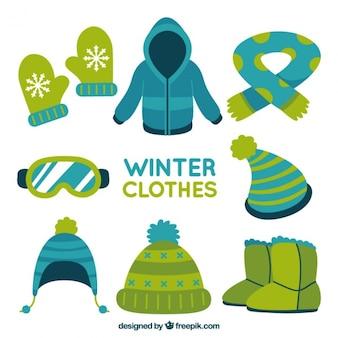 Zimowe ubrania spakować z ręcznie rysowanych elementów