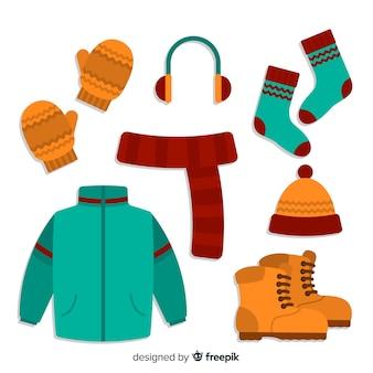 Zimowe ubrania w tle