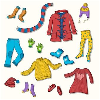 Zimowe ubrania zestaw ilustracji wektorowych