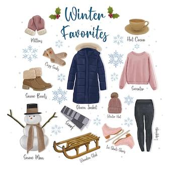 Zimowe ulubione ręcznie rysowane ilustracji kolekcji