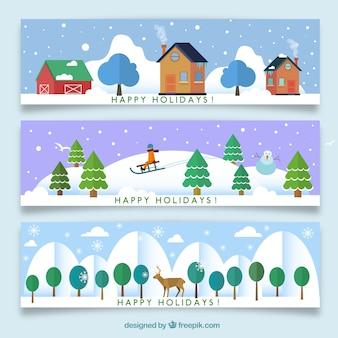 Zimowe wakacje bannery kolekcji
