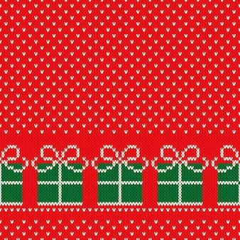 Zimowe wakacje bezszwowe dzianiny wzór z prezentami