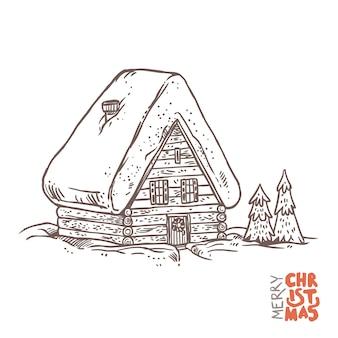 Zimowe wakacje do domu w wektorze. drewniany dom w czasie świąt bożego narodzenia.