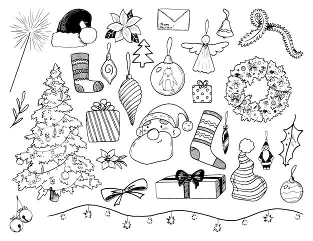 Zimowe wakacje gryzmoły kolekcja. ręcznie rysowane ilustracje wektorowe. kontur rysunku przytulnego bożego narodzenia, nowego roku. zarys elementów vintage na białym tle. do projektowania, kart, nadruków, dekoracji, naklejek.