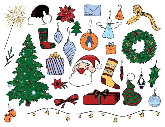 Zimowe wakacje gryzmoły kolekcja. ręcznie rysowane ilustracje wektorowe. rysunki kreskówek przytulne boże narodzenie, nowy rok. kolorowe elementy vintage na białym tle do projektowania, kart, drukowania, wystroju, naklejek.