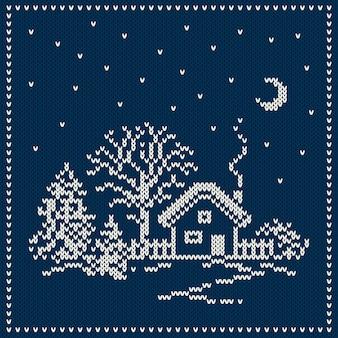 Zimowe wakacje krajobraz. projekt świątecznego swetra. wzór z dzianiny