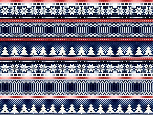 Zimowe wakacje pikselowy wzór z choinkami