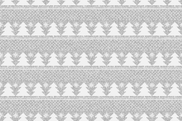 Zimowe wakacje pikselowy wzór z ozdobą choinki
