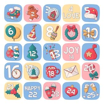 Zimowe wakacje plakat kalendarz wyciągnąć rękę