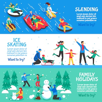 Zimowe wakacje płaskie poziome banery