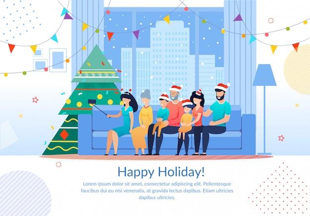 Zimowe wakacje rodzinne uroczystości szablon