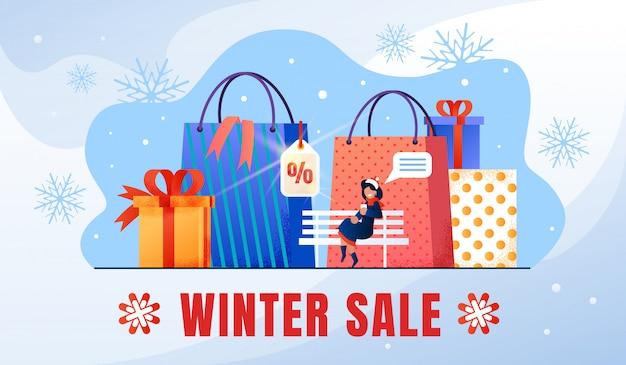 Zimowe wakacje sprzedaż płaski transparent promocyjny