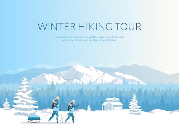 Zimowe wędrówki tour banner płaski szablon