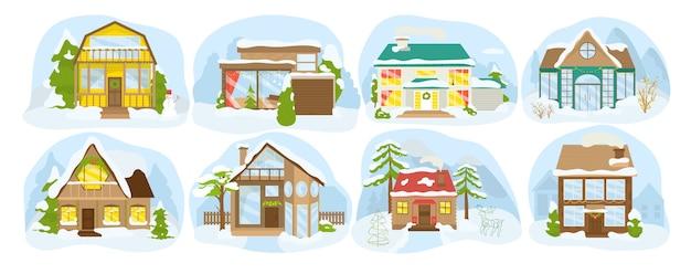 Zimowe wiejskie budynki, śnieżne domy w wiosce, domki zestaw ikon na białym tle. świąteczne domy świąteczne w lesie. domy drewniane, architektura miejska.