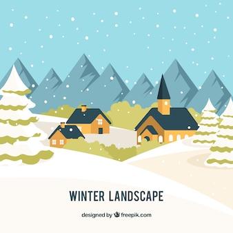 Zimowe wioski tła