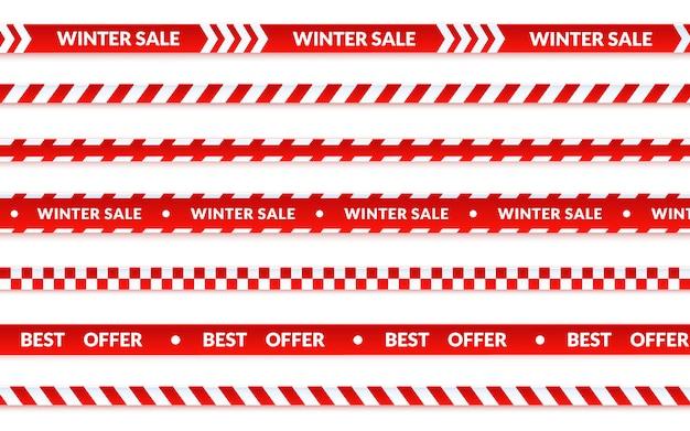 Zimowe wstążki sprzedaż, streszczenie transparent sprzedaż boże narodzenie ustawiony na białym tle. taśma ostrzegawcza wektor o zakupy, najlepsza oferta banner wakacje. graficzna ilustracja w stylu kreskówki.