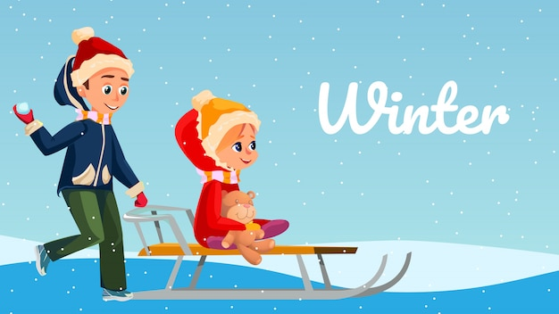 Zimowe zabawy banner cartoon dzieci bawią się na zewnątrz