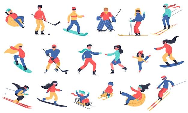 Zimowe zajęcia na śniegu. narty, snowboard, hokej i łyżwy, zestaw ikon ilustracji rodzinnych wakacji zimowych. hokej na lodzie i deska, sporty ekstremalne na śniegu