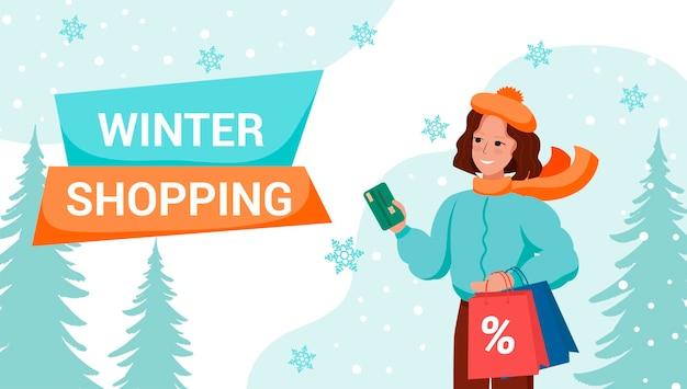Zimowe zakupy szablon transparent wektor. ładna kobieta w zimowych ubraniach na zakupy.