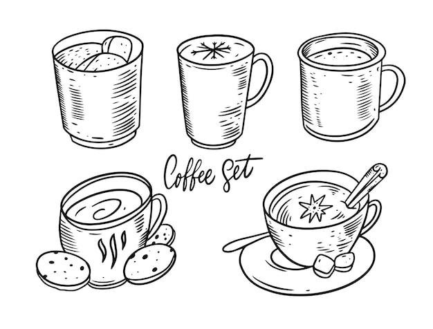 Zimowe zestaw ilustracji do kawy i herbaty