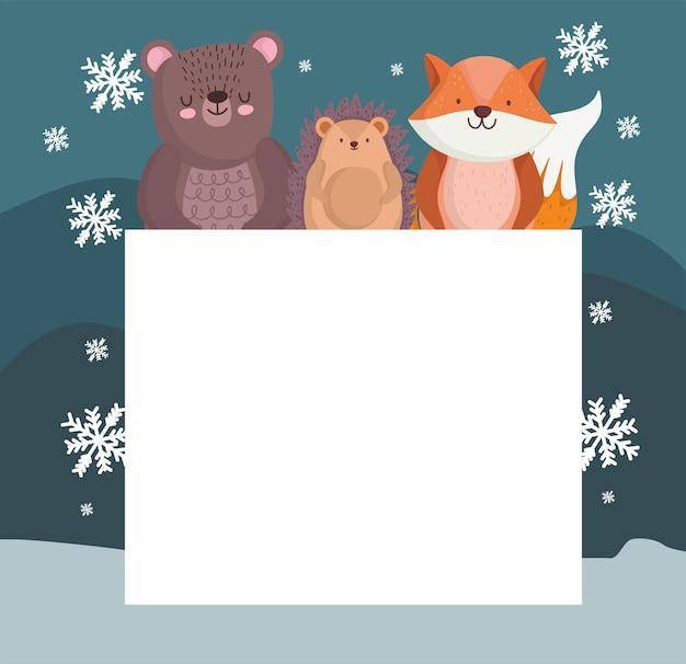 Zimowe zwierzęta i karta