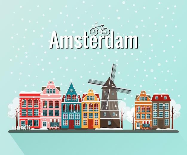 Zimowy amsterdam. stare europejskie miasto.