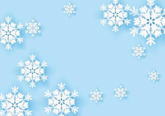 Zimowy baner powitalny płatka śniegu z niebieskim tłem szablon plakatu zimowego na zimę