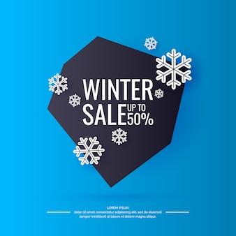 Zimowy baner sprzedaży. oryginalny plakat ze zniżką. jasne tło z tekstem. ilustracja.