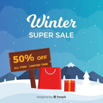 Zimowy banner super sprzedaży