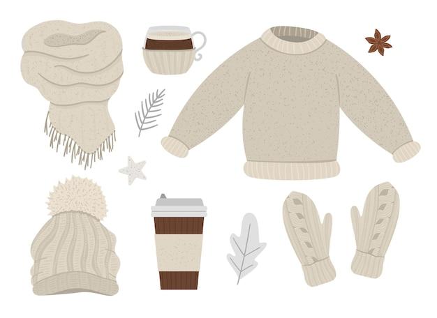 Zimowy beżowy zestaw ubrań. kolekcja elementów odzieży wektorowej na zimną pogodę. płaska ilustracja dzianinowy ciepły sweter, czapka, rękawiczki, szaliki, gorący napój na wynos.