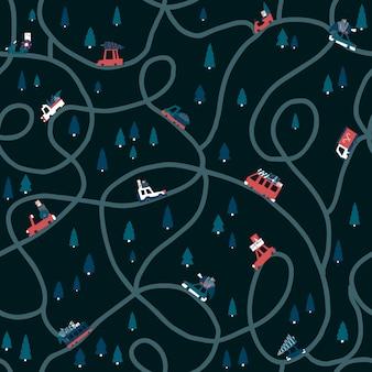 Zimowy ciemny wzór boże narodzenie z drogą i uroczymi samochodami. płaskie dziecinna ilustracja rysowane ręcznie w stylu prostej kreskówki