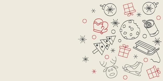 Zimowy czas lineart ilustracja boże narodzenie rysowanie linii nowoczesny styl nowy rok ilustracja ręka