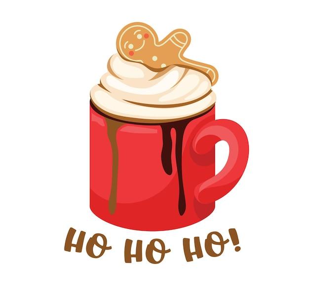 Zimowy drink w czerwonym kubku, gorący napój z bitą śmietaną