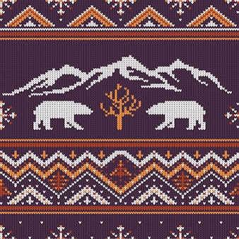 Zimowy dzianinowy wzór wełny z niedźwiedzi polarnych i gór