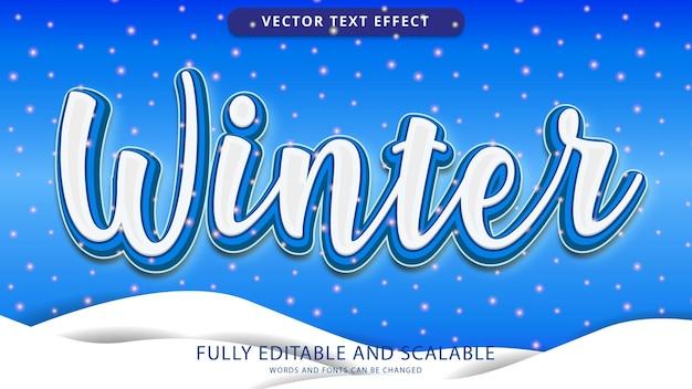 Zimowy efekt tekstowy edytowalny plik eps