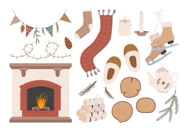 Zimowy i jesienny przytulny zestaw hygge z różnymi dekoracjami domowymi