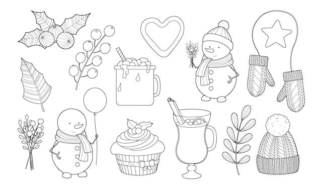 Zimowy i świąteczny zestaw bałwana, poncz, ciepłe ubrania, gorąca czekolada z konturem kontur pianki. kolorowanie