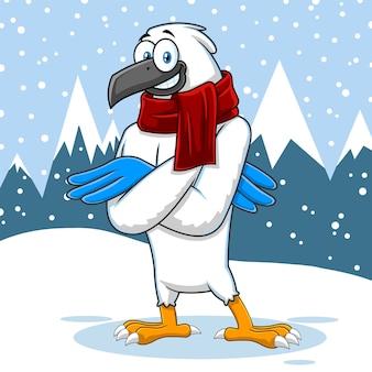 Zimowy jastrząb ptak ładny postać z kreskówki. ilustracja w tle krajobrazu