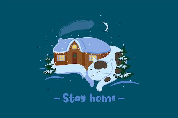 Zimowy kot i dom. napis zostań w domu. grafika wektorowa.