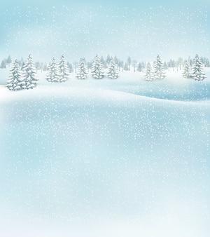 Zimowy krajobraz boże narodzenie tło.